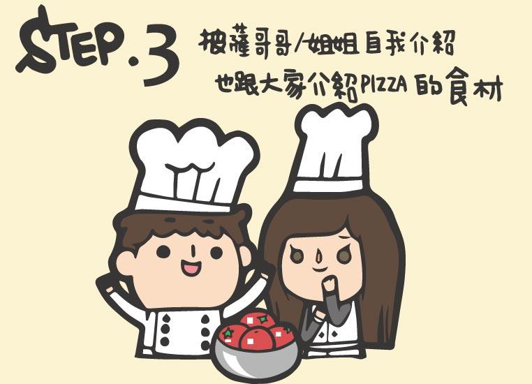 Step3.披薩哥哥/姐姐自我介紹,也跟大家介紹Pizza的食材